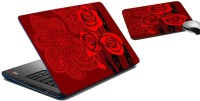MeSleep Deep Roses Laptop Skin And Mouse Pad 164 Combo Set (Multicolor)