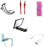 BIGKIK AUX CABLE, 5IN1 CABLE, USB FAN, 3.5MM AUDIO JACK, LED WATCH, 3D PHONE SCREEN Combo Set (MULTI)