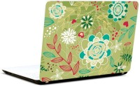 Pics And You Offbeat Floral Green Vinyl Laptop Decal (Laptops And Macbooks)