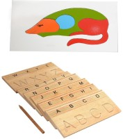 Aimedu Toy Combo Pack Of Wooden Carving Board Capital And Rat Puzzle For Kids Learning (Multicolor)