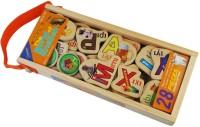 QISIWEI 28 Piece Wooden Magnetic Cutout Stickers In Wooden Carry Case For Kids (Multicolor)