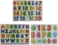 Tootpado Wooden Alphabet, Number & Signs Puzzle Picture Board With Knobs - (1c279) - Learning Educational Math Toys For Kids 18M+ (Multicolor)