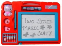 Nishi Double Sided Magic Slate For Kids With Counting Beads, Pen And Stamps (Multicolor)