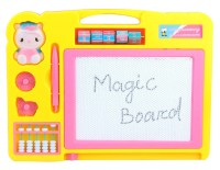 Pigloo Double Sided Magic Writing Board With Calculation Panel & Abacus For Kids Ages 3+ Years, Color : Yellow (Yellow)
