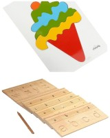 Aimedu Toy Combo Pack Of Wooden Carving Board Small And Ice Cream Puzzle Big For Kids Learning (Multicolor)