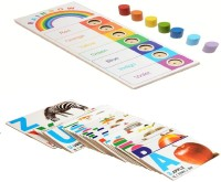 Aimedu Toy Combo Pack Of Wooden Flash Card English Alphabet And Rainbow Board For Kids Learning (Multicolor)