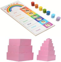 Aimedu Toy Combo Pack Of Wooden Pink Tower And Rainbow Board For Kids Learning - Kids Toys (Multicolor)