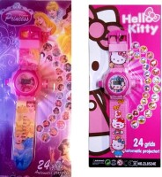 Shop & Shoppee Combo Of Hello Kitty & Princess Projector Wristband - 24 Images (Pink)