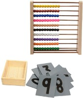 Aimedu Toy Combo Pack Of Wooden Sand Paper No. And Counting Frame For Kids Learning (Multicolor)