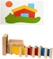 Aimedu Toy Combo Pack Of Wooden 3 Pair Primary Colour Tablet And House Puzzle Big For Kids Learning (Multicolor)