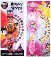 New Pinch Angry Bird & Princess Projector Watch (Pack Of 2) (Multicolor)