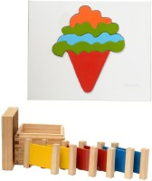 Aimedu Toy Combo Pack Of Wooden Primary Colour Tablet And Ice Cream Puzzle For Kids Learning (Multicolor)