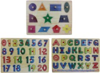 Tootpado Wooden Alphabet, Number & Shapes Puzzle Picture Board With Knobs - (1c290) - Learning Educational Math Toys For Kids 18M+ (Multicolor)