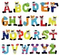 Kuhu Creations Wooden Alphabet Cartoon Magnet (Multicolor)