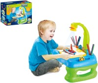 Building Mart Children's 4 In 1 Projector Learning Desk - Table Lamp, Projection, Painting & Spelling Set (Multicolor)