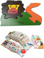 Aimedu Toy Combo Pack Of Wooden Flash Card Hindi Alphabet And Jigsaw Puzzle Lion For Kids Learning (Multicolor)
