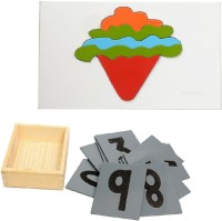 Aimedu Toy Combo Pack Of Wooden Sand Paper No. And Ice Cream Puzzle For Kids Learning (Multicolor)