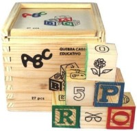 Rvold Alphabet & Number Non-Toxic Wooden Abcd And 1234 Building Blocks (27 Wood Blocks, Block Size 2Cm Cube - Small Size) (Multicolor)