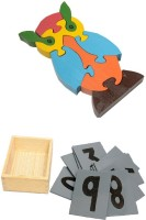 Aimedu Toy Combo Pack Of Wooden Sand Paper No. And Jigsaw Puzzle Owl For Kids Learning (Multicolor)
