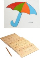 Aimedu Toy Combo Pack Of Wooden Carving Board Small And Umbrella Puzzle For Kids Learning (Multicolor)