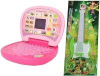 New Pinch Combo Of Kids English Mini Laptop With Small Screen & Musical Guitar Fetching Light And Sound (Multicolor)