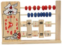 Kuhu Creations Wooden 2-Row Abacus Counting 8 Beads Per-row Maths Learning Educational Kids Toy (Multicolor)