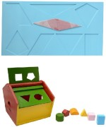 Aimedu Toy Learning & Educational Toys Aimedu Toy Combo Pack Of Wooden Shape Box Hut And Shape Magic For Kids Learning