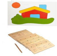 Aimedu Toy Combo Pack Of Wooden Carving Board Small And House Puzzle Big For Kids Learning (Multicolor)