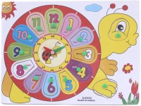 Littlegrin Kids Wooden Activity Clock Educational Learning Toys - Learn The Fun Way , Available In 3 Patterns - Snail, Turtle & Cow (Multicolor)