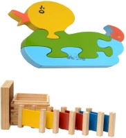 Aimedu Toy Combo Pack Of Wooden 3 Pair Primary Colour Tablet And Jigsaw Puzzle Duck 1 For Kids Learning (Multicolor)