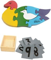 Aimedu Toy Combo Pack Of Wooden Sand Paper No. And Jigsaw Puzzle Duck For Kids Learning (Multicolor)