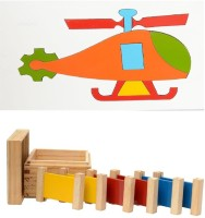 Aimedu Toy Combo Pack Of Wooden 3 Pair Primary Colour Tablet And Helicopter Puzzle Big For Kids Learning (Multicolor)