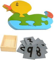 Aimedu Toy Combo Pack Of Wooden Sand Paper No. And Jigsaw Puzzle Duck 1 For Kids Learning (Multicolor)