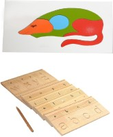Aimedu Toy Combo Pack Of Wooden Carving Board Small And Rat Puzzle For Kids Learning (Multicolor)