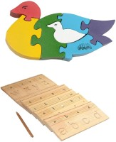 Aimedu Toy Combo Pack Of Wooden Carving Board Small And Jigsaw Puzzle Duck For Kids Learning (Multicolor)