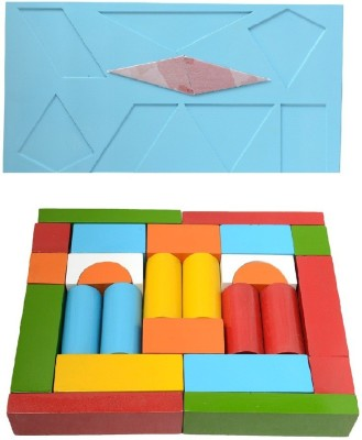 Aimedu Toy Learning & Educational Toys Aimedu Toy Combo Pack Of Wooden Building Block And Shape Magic For Kids Learning