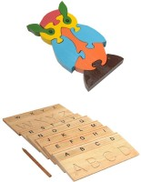 Aimedu Toy Combo Pack Of Wooden Carving Board Capital And Jigsaw Puzzle Owl For Kids Learning (Multicolor)