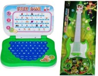 Turban Toys Combo Of Mini English Learning Laptop & Musical Guitar Fetching Light And Sound (Multicolor)