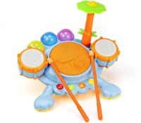 Buddy Fun Electronic Frog Drum Beat Set With Kids Follow The Blinking Lights To Keep To The Beat (Multicolor)