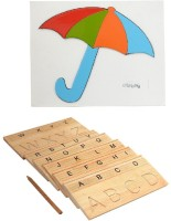 Aimedu Toy Combo Pack Of Wooden Carving Board Capital And Umbrella Puzzle For Kids Learning (Multicolor)