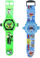 New Pinch Combo Of Doremon & Ben-10 Projector Watch 24 Images For Kids (Multicolor)