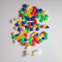 HMS Five Colored Couting Beads In Shape Of Triangle, Square 90 Pc Small Size 3 Cm (Multicolor)