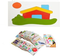 Aimedu Toy Combo Pack Of Wooden Flash Card Hindi Alphabet And House Puzzle Big For Kids Learning (Multicolor)