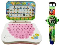 Turban Toys Mini English Learning Laptop With Green Projector Watch 24images (Multicolor)
