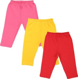 Color Fly Baby Girl's Pink, Red, Yellow Leggings Pack Of 3