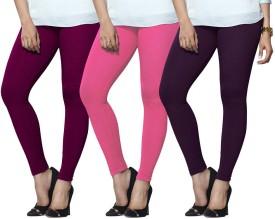 Lux Lyra Women's Purple, Pink, Purple Leggings Pack Of 3