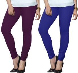 Lux Lyra Women's Purple, Dark Blue Leggings Pack Of 2