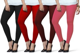 Lux Lyra Women's Black, Red, Maroon, Pink Leggings Pack Of 4