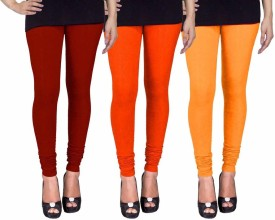 Fashion Flow+ Women's Maroon, Orange, Yellow Leggings Pack Of 3