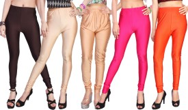 Comix Women's Black, Beige, Beige, Pink, Orange Leggings Pack Of 5